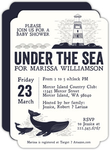 Vintage Under The Sea Illustrative Baby Shower Invitation
