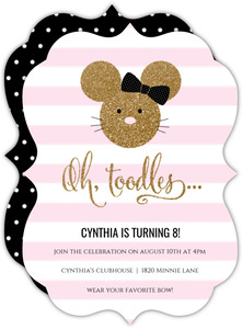 Glamorous Glitter Minnie Mouse Birthday Invitation