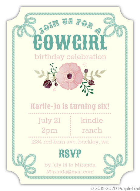 Cowgirl blossoms kids birthday party invitation cowgirl birthday cowgirl blossoms kids birthday party invitation filmwisefo Images