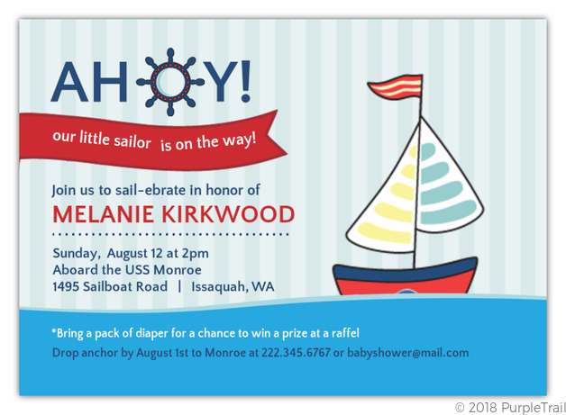 Blue Red Sailboat Nautical Printable Baby Shower Invitation