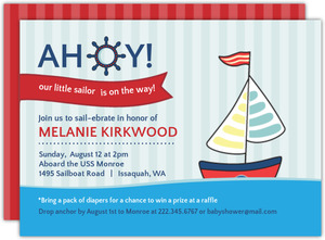 Blue  Red Sailboat Nautical Baby Shower Invitation