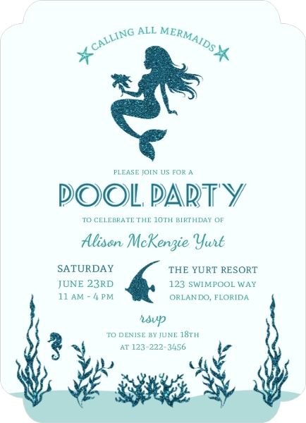 Beautiful Faux Glitter Mermaid Pool Party Invitation Mermaid