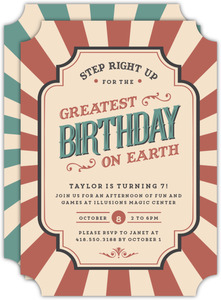 Step Right Up Vintage Carnival Birthday Party Invitation