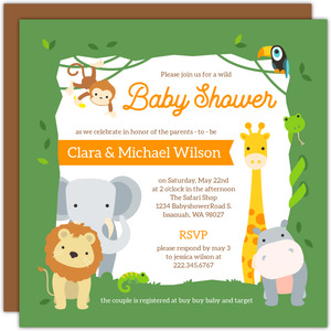 Wild Safari Frame Baby Shower Invitation