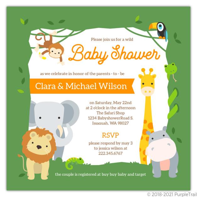 Wild Safari Frame Baby Shower Invitation Safari Baby Shower