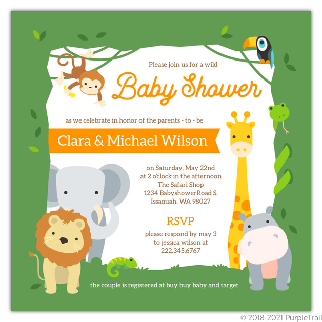 Wild Safari Frame Printable Baby Shower Invitation Baby Shower