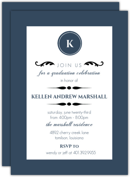 Elegant Black Monogram  Invitation