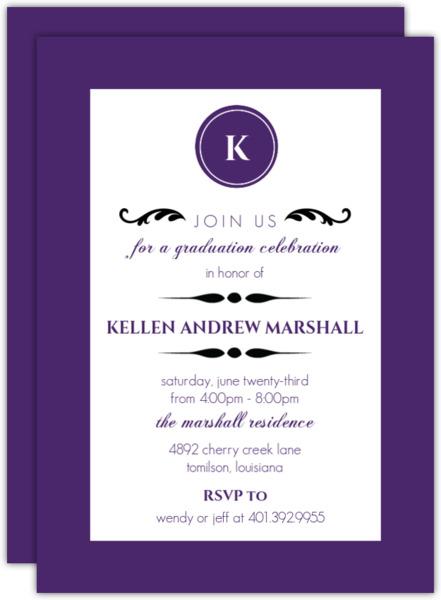 Elegant Black Monogram  Invitation