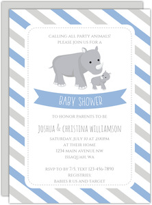 Rhino & Stripes Baby Shower Invitation