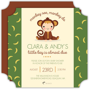 Monkey See Monkey Do Baby Shower Invitation