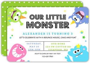 Colorful Corner Monsters Kids Birthday Invitation