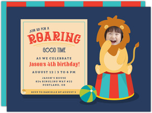 Circus Lion Photo Birthday Party Invitation