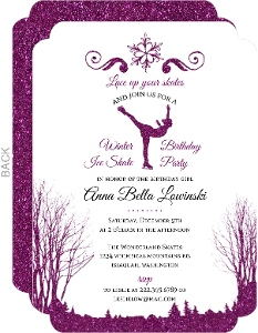Whimsical Winter Faux Glitter Ice Skate Birthday Party Invitation