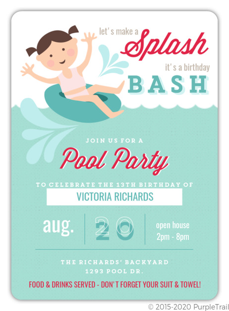 Playful Inner Tube Pool Party Invitation