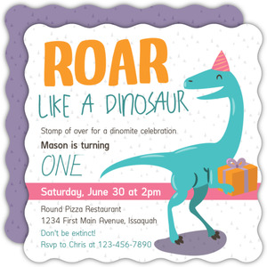 Friendly Cute Dinosaur Kids Birthday Invitation