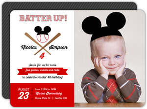 Cute Red and Black Baseball Birthday Party Invitation