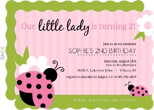 Pink And Green Ladybug Birthday Invitation