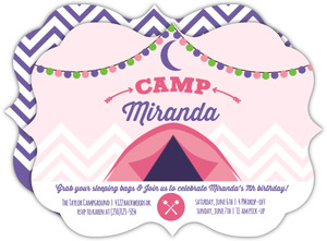 Glam Camping Girls Birthday Party Invitation