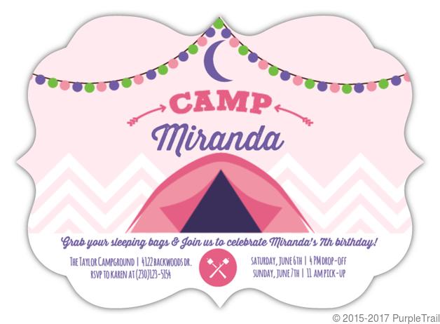 glam camping girls birthday party invitation kids birthday invitations