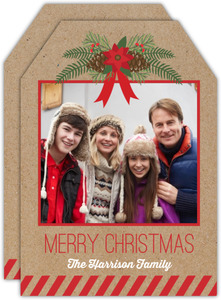 Kraft Pine Cone Christmas Tag Photo Card