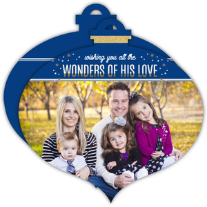 Beautiful Faux Glitter Religious Holiday Ornament Photo Card