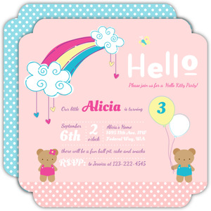 Cute Pastel Rainbow Birthday Party Invitation