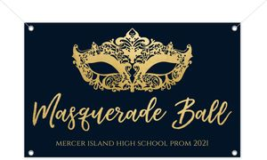 Faux Gold Foil Mask Masquerade Printable Prom Banner
