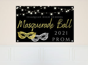Silver Gold Masks Prom Banner