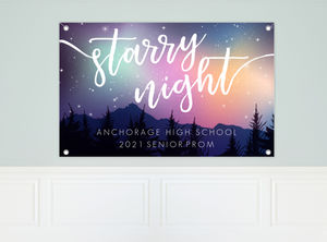 Colorful Northern Lights And Stars Prom Banner