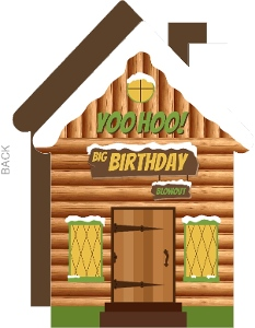 Yoohoo Camping Cabin Birthday Party Invitations