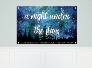Night Under The Stars Watercolor Prom Banner