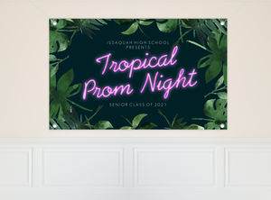 Watercolor Tropical Paradise Prom Banner