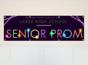 Bright Glow in The Dark Typography Prom Banner