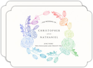 Rainbow Floral Wreath Wedding Invitation