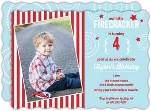 Blue And Red Stars And Stripes Fourth Of July Birthday Party Invitation