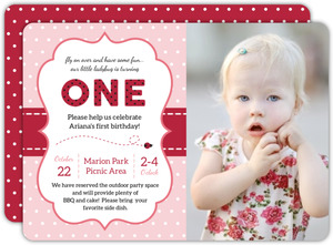 Pink and Red Polka Dot Ladybug Birthday Invitation