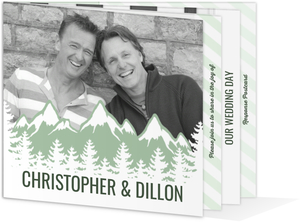 Deep Forest Mountains Booklet Gay Wedding Invitation
