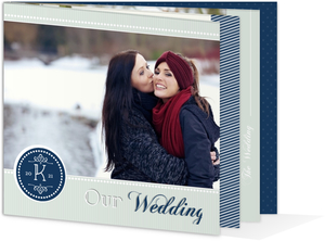 Modern Mint & Navy Pattern Gay Wedding Booklet Invitation