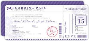Boarding Pass Destination Gay Wedding Invitation