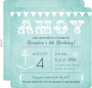 Navy Blue Flags And Anchor Nautical Birthday Invitation