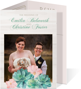 Whimsical Watercolor Succulents Tri-fold Gay Wedding Invitation