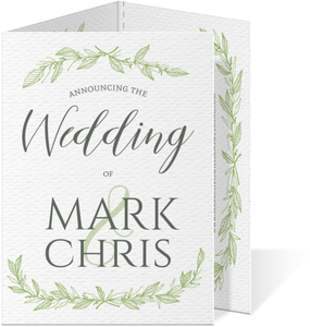 Green Spring Pattern Trifold Gay Wedding Invitation