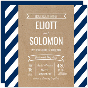 Kraft Banner and Stripes Gay Wedding Invitation