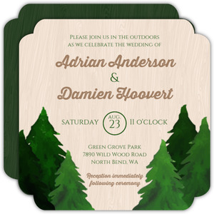 Rustic Woodgrain Evergreen Tree Gay Wedding Invitation