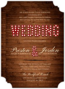 Rustic Wood Marquee Decor Gay Wedding Invitation