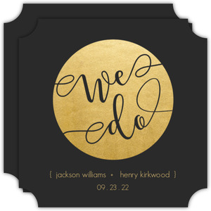 Faux Gold We Do Stamp Gay Wedding Invitation
