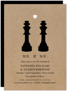 King Chess Pieces Gay Wedding invitation