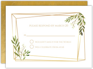 Faux Gold Frame Leaves Wedding Response Card