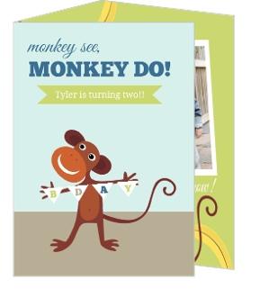 Monkey See Do Blue 2nd Birthday Invitation