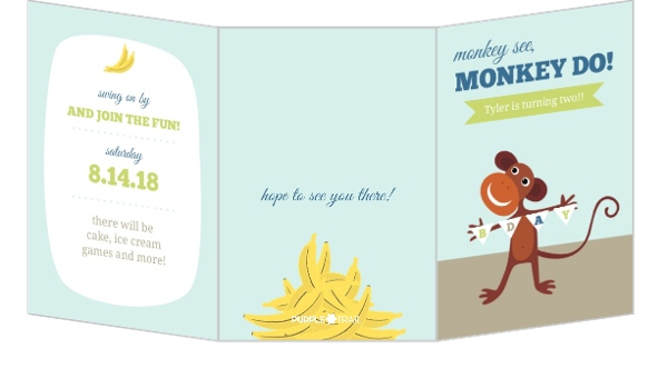 Monkey See Do Blue 2nd Birthday Invitation Spinner Small Loading Select Quantity